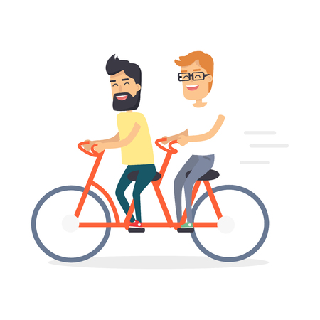Two Friends on Double Red Bicycle Graphic Icon Illustration