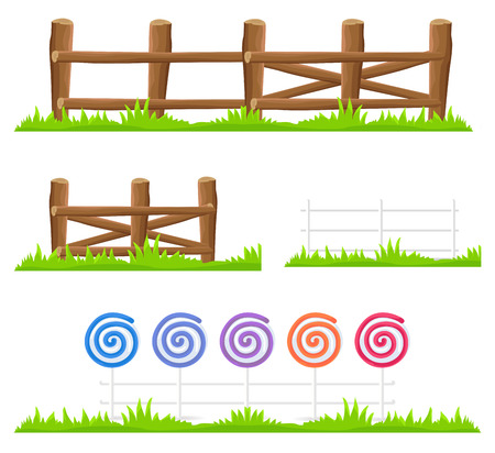 Wooden and Candy Fence Isolated Illustrations Set
