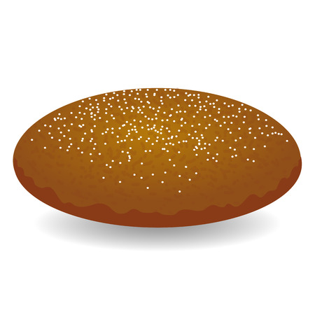 白で隔離の種子と丸い茶色のパン