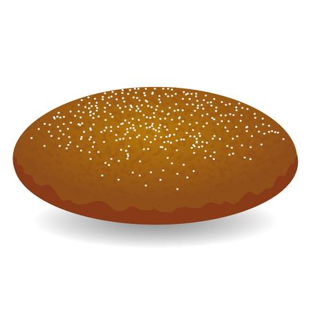 화이트 절연 씨앗과 함께 라운드 브라운 빵