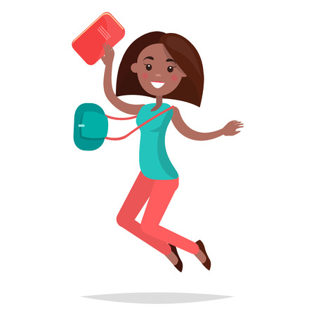 Jumping African Girl Student with Notebook and Bag Illustration