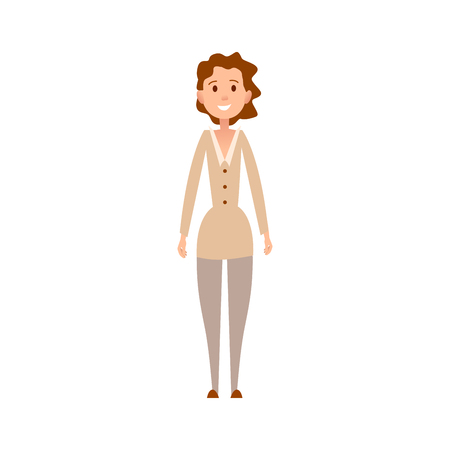 Woman with Curly Hair and Friendly Face Expression Ilustrace