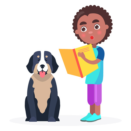 Surprised Kid Stands with Book and Pedigree Dog Illustration
