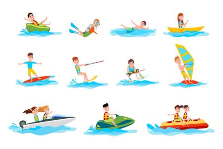 Personagens do verão água esporte conjunto de ilustrações Ilustración de vector