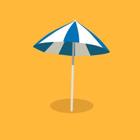 Blue and White Sun Umbrella Isolated illustration