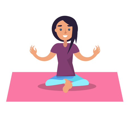 Girl doing yoga sits in lotus position on pink rug