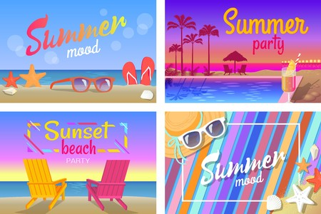 Summer Beach Party with Good Mood Posters Posters Archivio Fotografico - 88839249