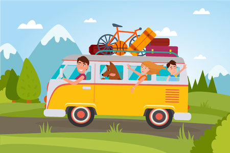 Family That Goes on Vacation at Countryside in Van Illustration