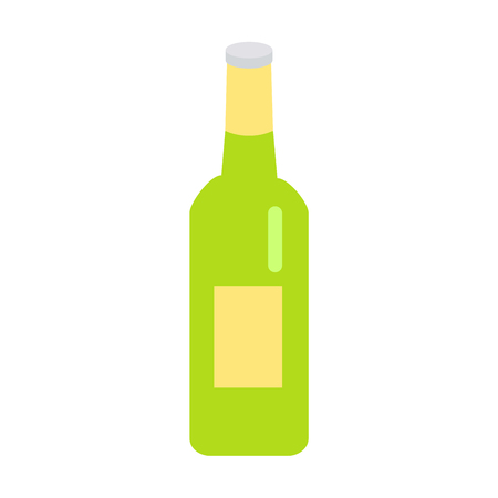 Green Glass Beer Bottle with Yellow Label Icon