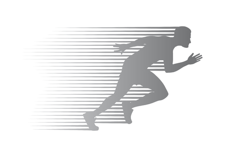 Silhouette of Jogger on Finish. Athletic Running Man Çizim
