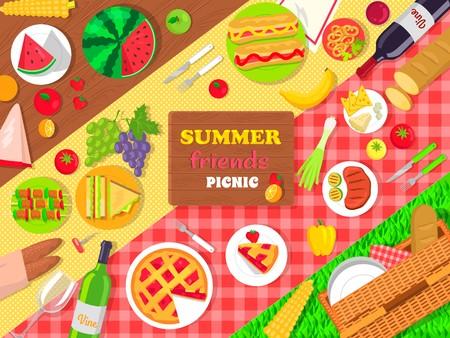 여름 친구 피크닉 포스터 맛있는 음식 일러스트