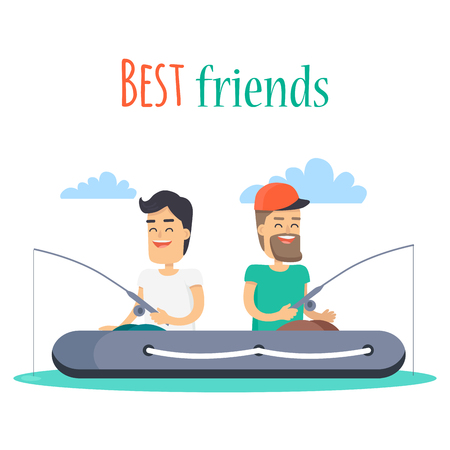 Best Friends Fishing on Inflatable Boat Vector Illustration