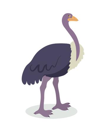 Struisvogel Cartoon platte vectorillustratie Stock Illustratie