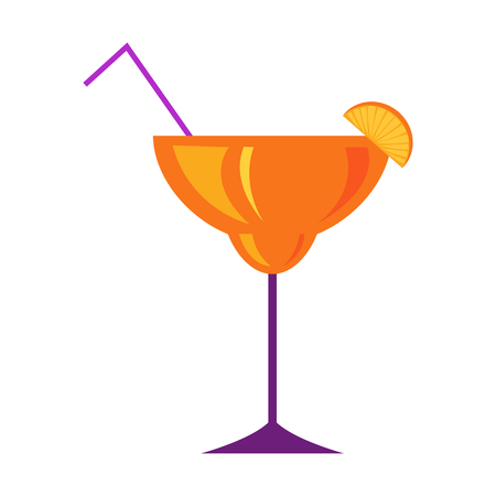 Margarita Glass with Citrus Cocktail Flat Vector