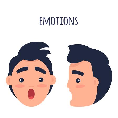 Verrast Man Emoties Flat Vector Concept