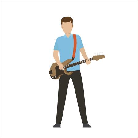 電気や低音ギターの男性キャラクター プレイ