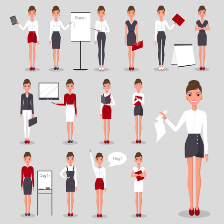 Modern Businesswoman at Work Illustrations Set Illustration