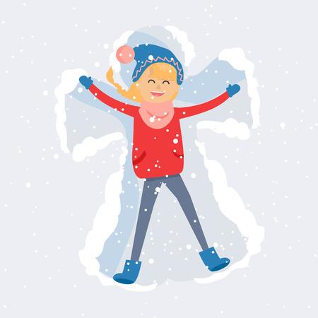 Happy Woman Making Snow Angel Flat Vector Stok Fotoğraf - 88839484