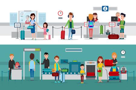 Procedura kontroli paszportowej podczas przekraczania granicy Ilustracje wektorowe