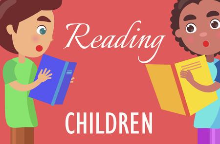 Reading For Children Poster with Boys Illustration Illusztráció