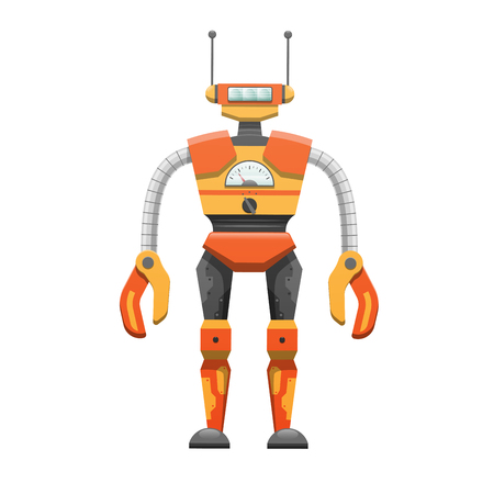 antennae: Metal Humanoid Robot with Antennae Illustration