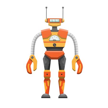 Metal Humanoid Robot with Antennae Illustration