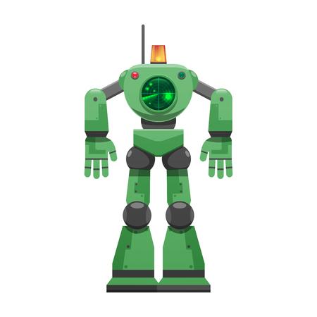 Robot con segnale di allarme e grande illustrazione radar Archivio Fotografico - 88839487