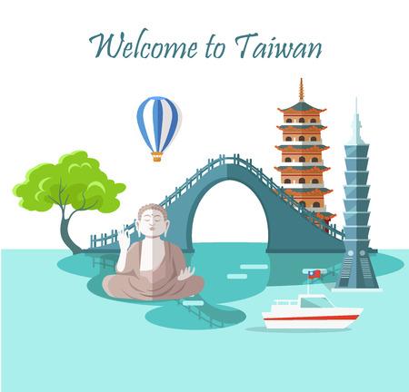 Welcome to Taiwan Greeting Card with Landmarks Ilustração