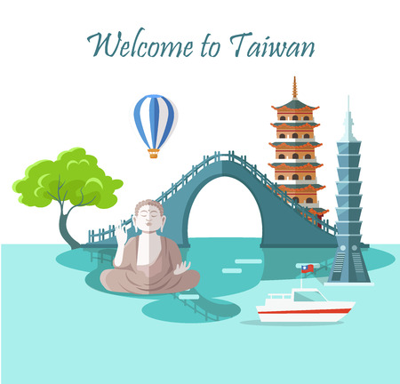 Welcome to Taiwan Greeting Card with Landmarks Stock Illustratie