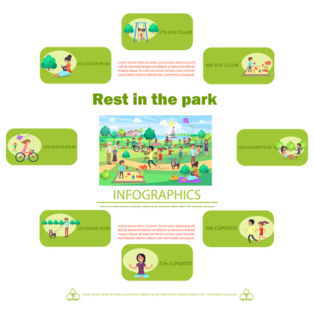 Rest in Park Poster with Activities Infographics Illustration
