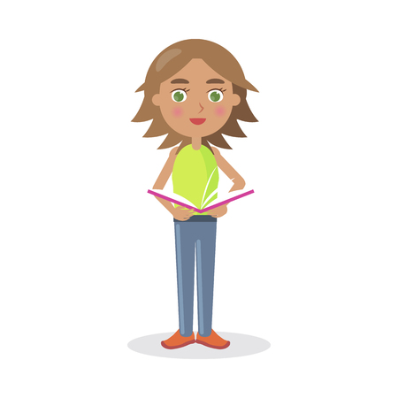 storybook: Cartoon Girl Stands and Reads Book Illustration