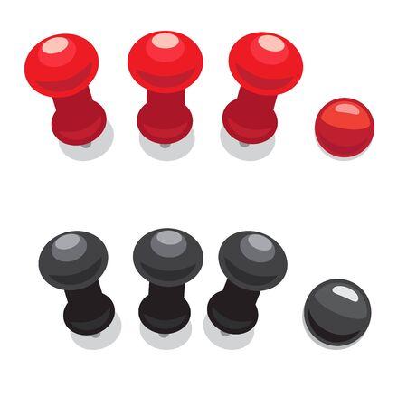 Big Pushpins Set of Isolated Vector Illustrations Ilustrace
