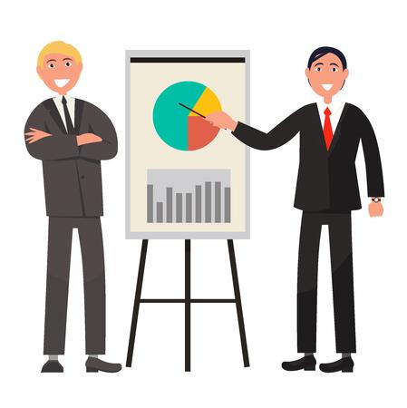 Businessmen Make Presentation and Explain Diagram