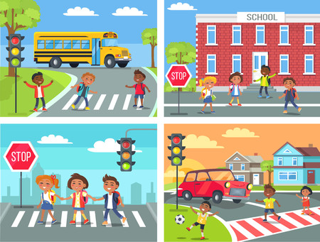 Schoolchildren Cross Road en el cruce de peatones Foto de archivo - 88839302