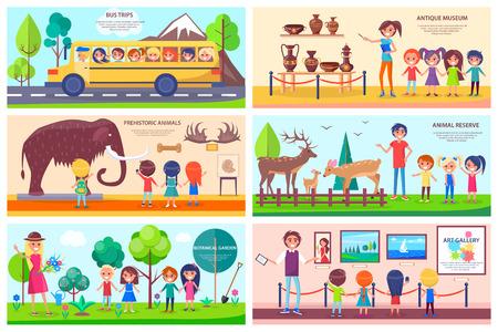 Plaatsen van belang Exploratie Illustraties Set