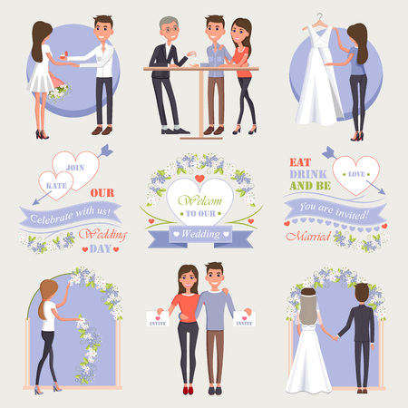 Welcome to Our Wedding Isolated Illustrations Set