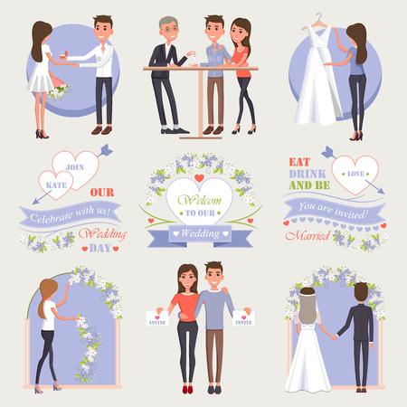 Welkom bij Our Wedding Isolated Illustrations Set