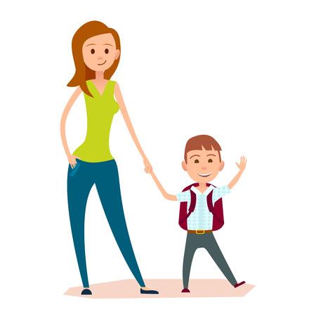 La madre lleva al pequeño hijo a la escuela o a clases