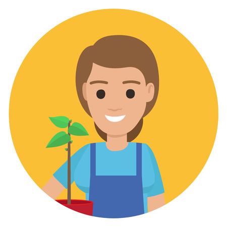 Happy Gardener with Plant in Pot ain Stylish Apron Illustration