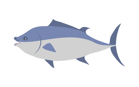 Tuna Cartoon Flat Vector Illustration Illustration