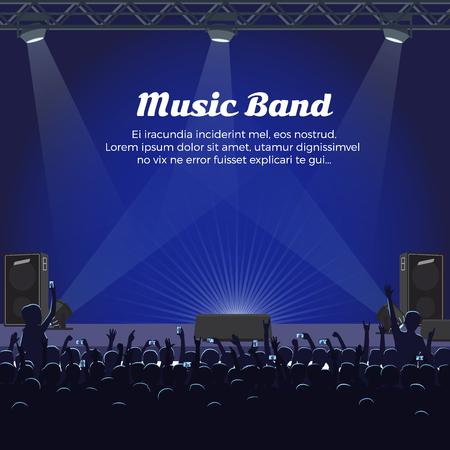 Muziekbandconcert in groot podium met schijnwerpers