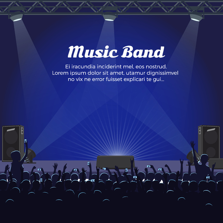 Music Band Concert at Big Stage with Spotlights