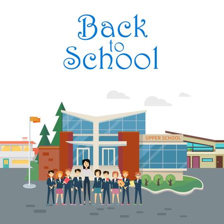 Back to School. Teacher with Pupils on School Yard