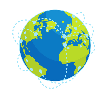 Earth Global Connections Flat Vector Concept