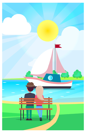 Couple Relaxing on Wooden Bench and Watching Yacht