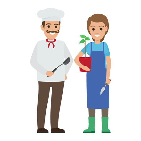 Chef Cook and Gardener. Two Smiling Persons Vector