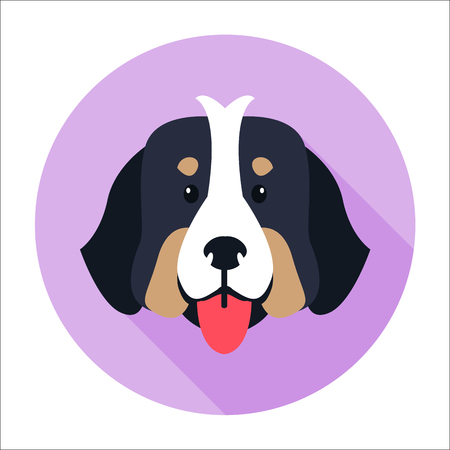 Canine Face of Bernese Mountain Dog Flat Design