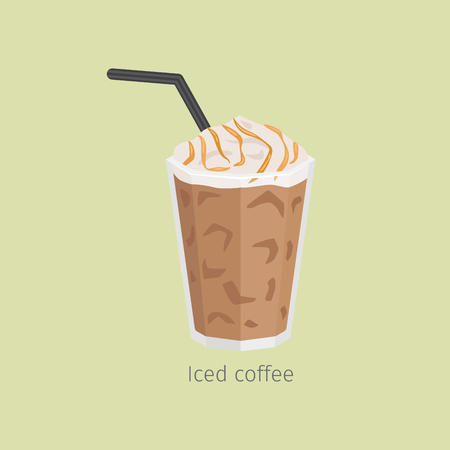 Glass of Iced Coffee with Syrup Flat Vector Illustration
