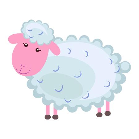 かわいい羊漫画フラット ベクトル ステッカーまたはアイコン 写真素材 - 88839600