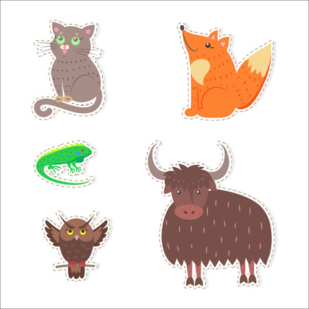 Schattige dieren Cartoon platte Vector Stickers Set Stockfoto - 88839598